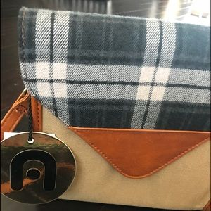 Canvas plaid and leather crossbody purse
